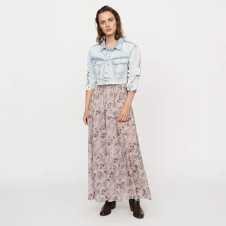 Maje Long floral-print cotton voile skirt