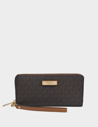 MICHAEL Michael Kors Jet Set Travel Continental Wallet in Brown Saffiano Calfskin