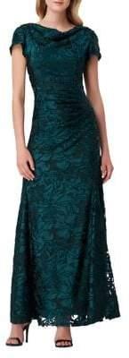 Tahari Arthur S. Levine Cowl Cap-Sleeve Floral Lace Gown