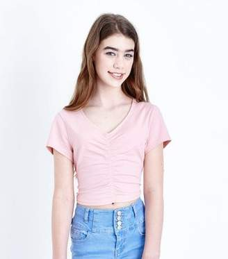 New Look Girls Pale Pink Ruched Front T-Shirt