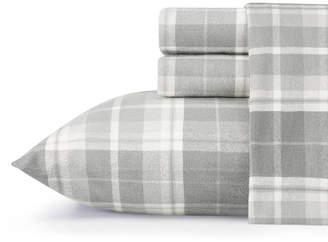 Laura Ashley Core Mulholland Plaid Medium Grey Twin Flannel Sheet Set Bedding