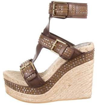 Alexander McQueen Leather Studded Wedges