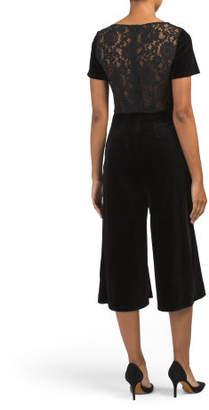 Lace Back Velvet Jumpsuit