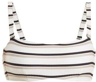 BEIGE Asceno - Bandeau Striped Bikini Top - Womens Stripe