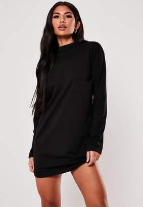 Missguided Black Long Sleeve T-Shirt Dress, Black