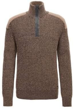BOSS Hugo Knitted zipper-neck sweater contrast shoulder patch M Open Beige