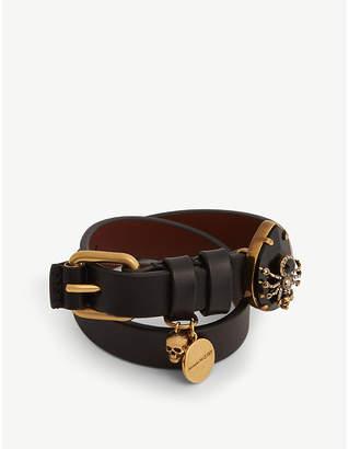 Crystal-embellished wrap leather bracelet