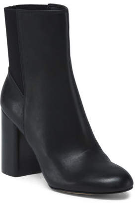 Round Toe Leather Booties