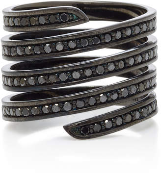 Lynn Ban Jewelry Black Rhodium Silver Diamond Ring