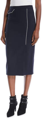 Escada Side-Slit Wool-Blend Midi Pencil Skirt w/ Contrast Piping