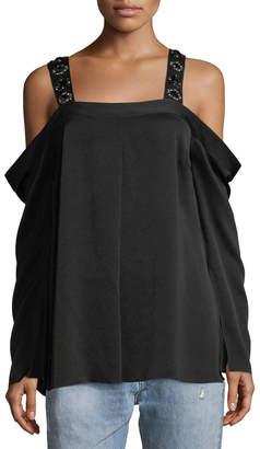Elizabeth and James Yera Cold-Shoulder Embellished-Strap Blouse