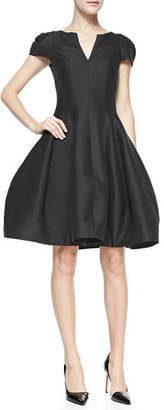 Halston Maggie Tulip-Skirt Split-Neck Dress