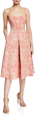 BCBGeneration Floral Jacquard Fit-and-Flare Midi Dress
