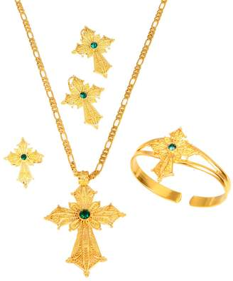BR Gold Jewelry Ethiopian Stone Color Cross Jewelry Set Gold Color Necklace Earrings Ring Bangle