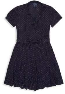 Ralph Lauren Little Girl's& Girl's Crepe Dotted Wrap Dress