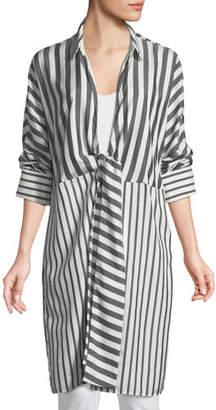 Lafayette 148 New York Rowlan Showcase Stripe Silk Duster Jacket