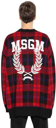 MSGM Printed Distressed Wool Blend Cardigan
