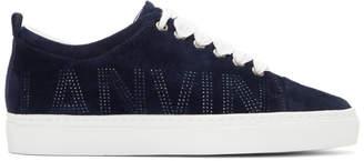 Lanvin Navy Logo Suede Sneakers