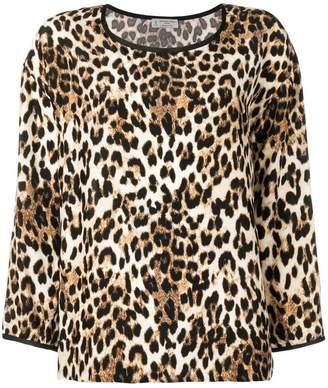 Alberto Biani leopard boxy blouse