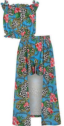 River Island Girls blue chain print maxi skort outfit