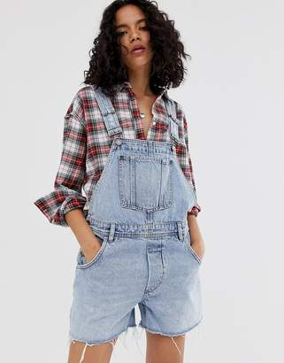 Cheap Monday recycled Chore denim dungaree shorts with raw hem