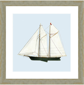 Vintage Print Gallery Nautical Motifs Schooner Framed Print