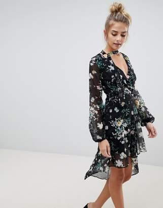 Bershka Floral Asymmetric Floaty Dress