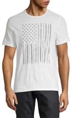John Varvatos Zipper Star Stud Flag Graphic Cotton Tee