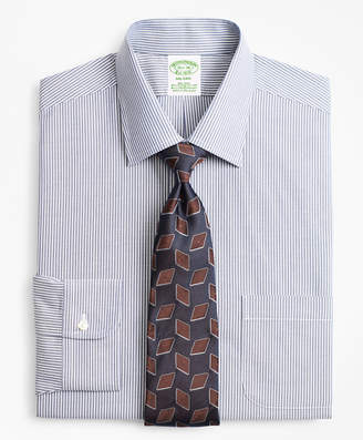 Brooks Brothers Stretch Milano Slim-Fit Dress Shirt, Non-Iron Narrow Ground Stripe