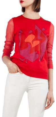 Akris Intarsia Knit Silk Blend Sweater