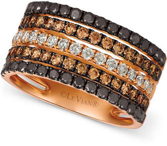 LeVian Le Vian Chocolate Layer Cake Blackberry Diamonds®, Chocolate Diamonds® & Nude Diamonds® Statement Ring (1-5/8 ct. t.w.) in 14k Rose Gold