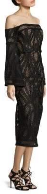 Thurley Sonnet Crochet Off-The-Shoulder Bell-Sleeve Dress