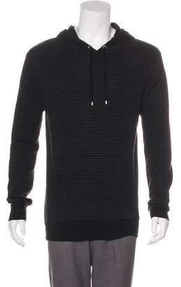 Christian Dior Bee-Embroidered Striped Hoodie