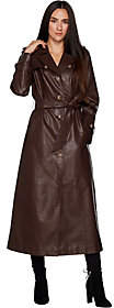 Dennis Basso Full Length Faux Leather TrenchCoat