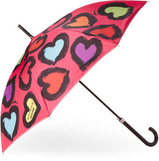 Moschino Painted Hearts Stick Umbrella