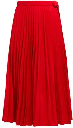 Valentino Pleated High Rise Cotton Blend Wrap Skirt - Womens - Red