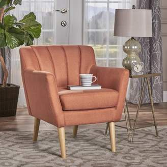 Noble House Cairo Mid Century Modern Fabric Club Chair, Orange, Natural