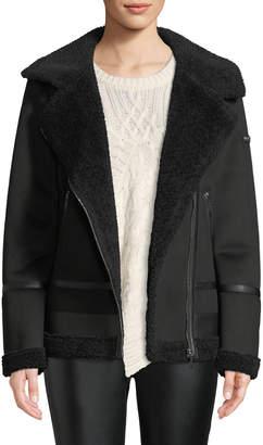 DKNY Faux-Shearling Moto Jacket