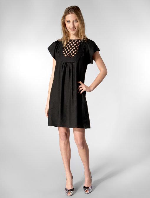 Built by Wendy Cotton Linen Short Sleeve Lattice Dress in Black