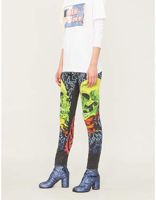 R 13 Kate skull-print mid-rise skinny jeans