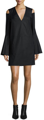 Derek Lam Bell-Sleeve Cold-Shoulder Dress, Black $995 thestylecure.com