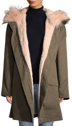 Yves Salomon Army by Women's Rabbit Fur-Trimmed Hooded Coat