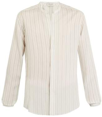 Saint Laurent Grandad Collar Pinstriped Shirt - Mens - White Multi