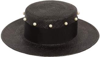 Federica Moretti Small Brim Hat W/ Imitation Pearls