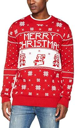 Nintendo Meroncourt Super Bros. Men's Knitted Pixel Mario Merry Christmas Sweater Jumper, Red