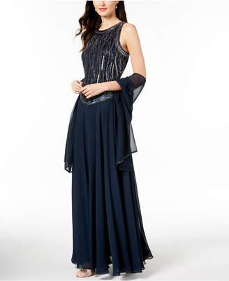 J Kara Handbeaded Sleeveless Gown with Shawl