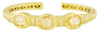 Judith Ripka 18K Diamond & Canary Crystal Three Stone Cuff