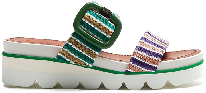 MISSONI Striped knit slip-on wedge sandals