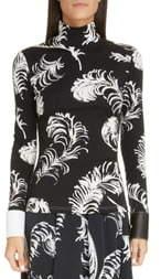 Loewe Leather Cuff Feather Print Top
