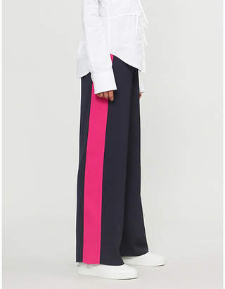 E.m. ME AND Satin-striped high-rise wide-leg crepe trousers